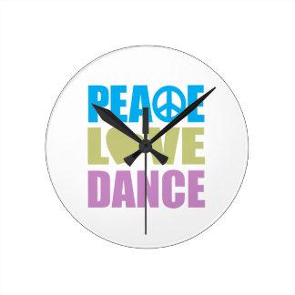 Peace Love Dance Round Clock