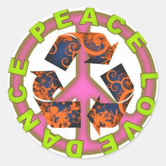 Peace Love Dance Round Sticker