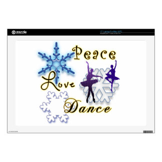 """Peace, Love, Dance with Snowflakes Skin For 17"""" Laptop"""