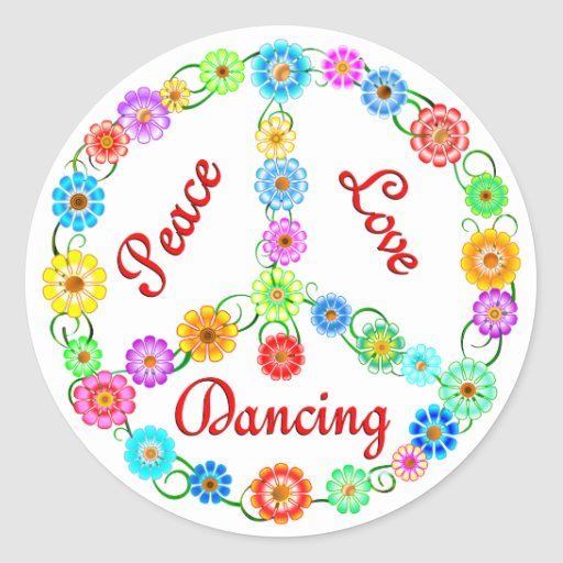 Peace Love Dancing Round Stickers
