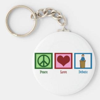 Peace Love Debate Basic Round Button Keychain