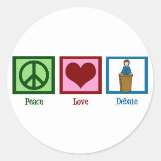 Peace Love Debate Classic Round Sticker