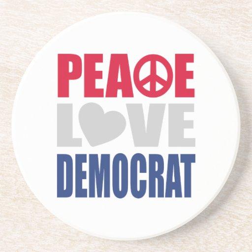 Peace Love Democrat Coaster