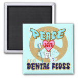 PEACE LOVE DENTAL FLOSS 2 INCH SQUARE MAGNET
