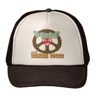 PEACE LOVE DENTAL FLOSS TRUCKER HAT