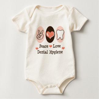 Peace Love Dental Hygiene Baby Bodysuit