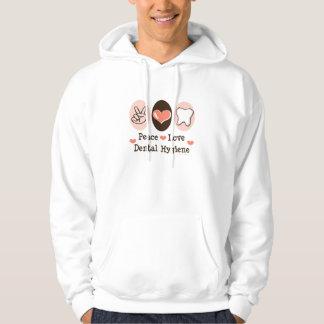 Peace Love Dental Hygiene Hooded Sweatshirt