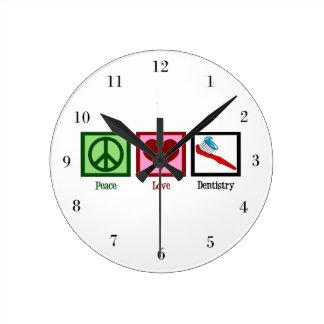 Peace Love Dentistry Round Clock