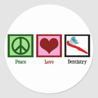 Peace Love Dentistry Round Stickers