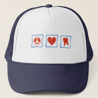 Peace Love Dentists Squares Trucker Hat