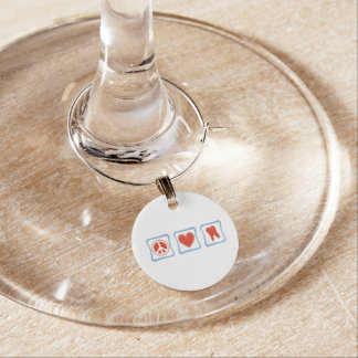 Peace Love Dentists Squares Wine Glass Charm
