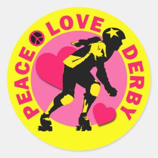 Peace Love Derby Classic Round Sticker