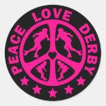 Peace Love Derby Round Stickers