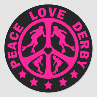 Peace Love Derby Round Stickers