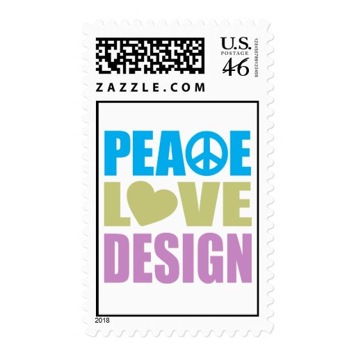 Peace Love Design Postage Stamp