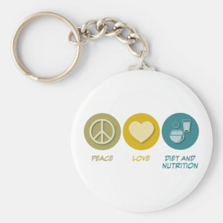 Peace Love Diet and Nutrition Basic Round Button Keychain