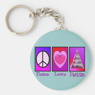 Peace Love Dietician Key Chains
