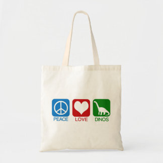 PEACE, LOVE, DINOS TOTE BAG