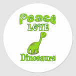 Peace Love Dinosaurs Classic Round Sticker