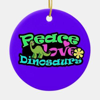 Peace, Love, Dinosaurs Christmas Ornament
