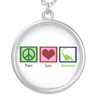 Peace Love Dinosaurs Silver Plated Necklace