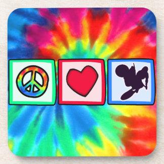 Peace, Love, Dirt Bike Drink Coaster