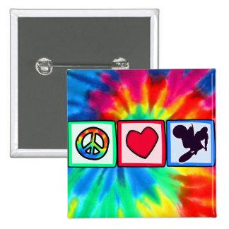 Peace, Love, Dirt Bike Pinback Button