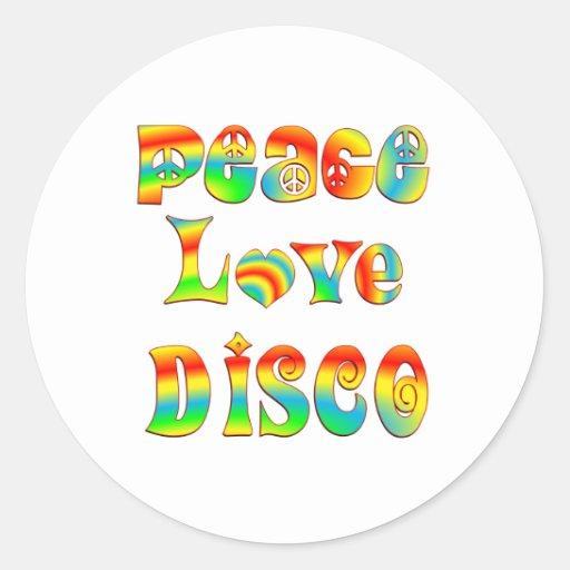 Peace Love Disco Classic Round Sticker