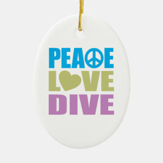 Peace Love Dive Double-Sided Oval Ceramic Christmas Ornament