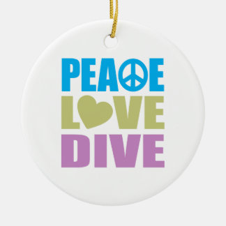Peace Love Dive Double-Sided Ceramic Round Christmas Ornament