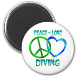 Peace Love DIVING Fridge Magnets