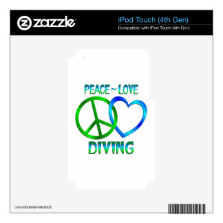 Peace Love DIVING Skins For iPod Touch 4G
