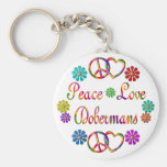 PEACE LOVE DOBERMANS KEYCHAIN