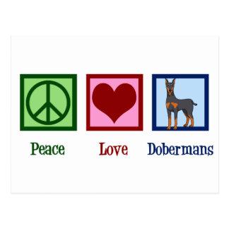 Peace Love Dobermans Postcard