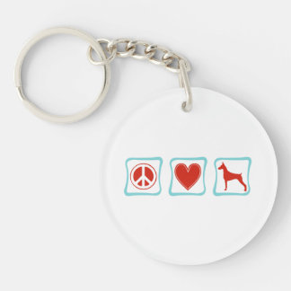 Peace Love Dobermans Squares Double-Sided Round Acrylic Keychain