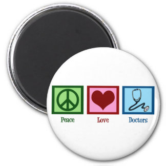 Peace Love Doctors 2 Inch Round Magnet