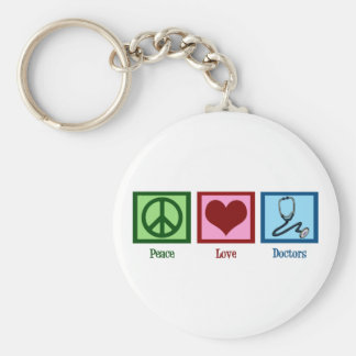 Peace Love Doctors Basic Round Button Keychain