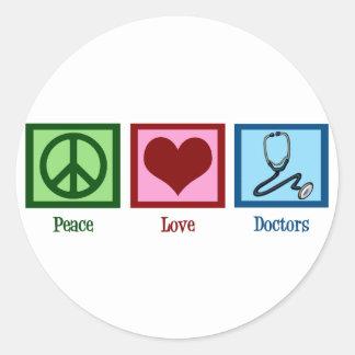 Peace Love Doctors Classic Round Sticker