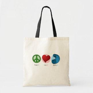 Peace Love & Dog Agility Tote Bag