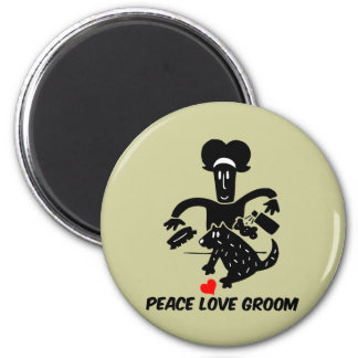 Peace love dog grooming magnet