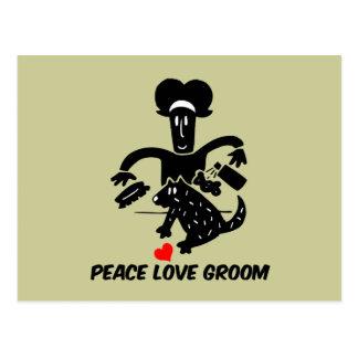 Peace love dog grooming postcard
