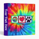 Peace, Love, Dog; Pawprint 3 Ring Binder