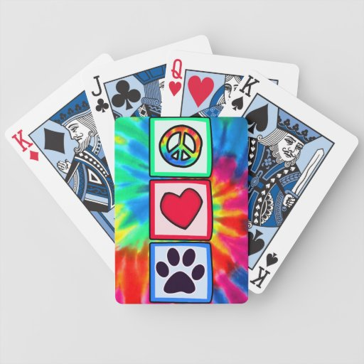 Peace, Love, Dog; Pawprint Bicycle Playing Cards