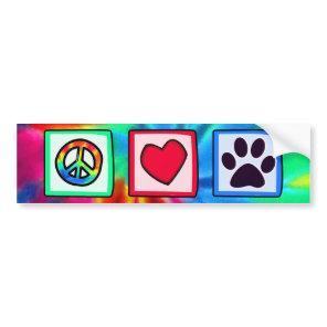 Peace, Love, Dog; Pawprint Bumper Sticker