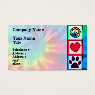 Peace, Love, Dog; Pawprint Business Card