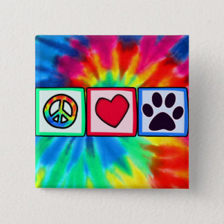 Peace, Love, Dog; Pawprint Button