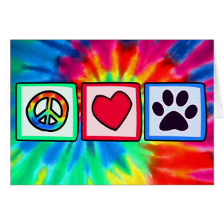 Peace, Love, Dog; Pawprint Card