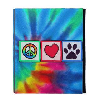 Peace, Love, Dog; Pawprint iPad Folio Cover