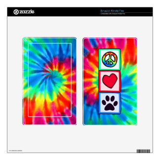 Peace, Love, Dog; Pawprint Kindle Fire Skin