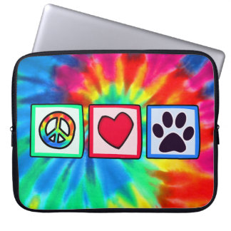 Peace, Love, Dog; Pawprint Laptop Sleeves